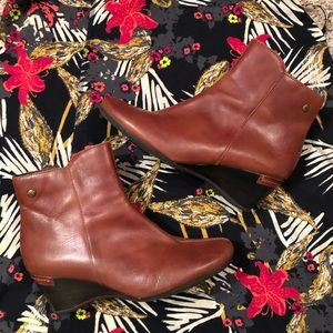 Pikolinos Brown Leather Wedge Booties 38 7.5 8